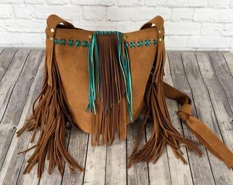 Brown and Turquoise Bucket Bag / Leather Bucket Bag / Leather Fringe Handbag / Leather Bag / Leather Fringe Bucket Bag
