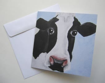 Black and White Dairy Cow Greeting Card, Cow Blank Greeting Card, Cattle Greeting Card by Amber Maki