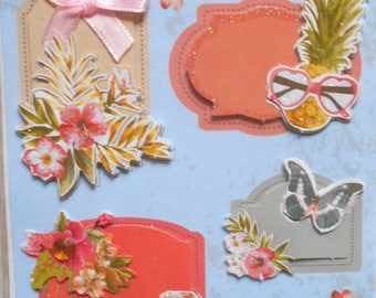 Plate 10 stickers 3D flowers and card making, scrapbooking new messages