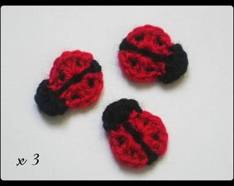 Lot 3 ladybugs ✿•ڿڰۣ✿ applique crochet woolen ✿•ڿڰۣ✿