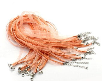 2 waxed cotton thread and organza Ribbon necklaces Pink salmon 43 cm