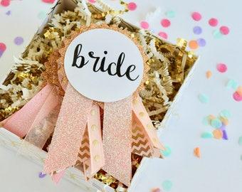 Rose Gold Glitter Bachelorette Party Pins, Bachelorette Party Decorations