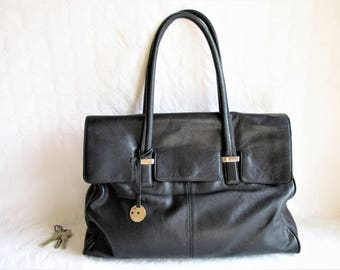 vintage KNOMO black soft leather extra large tote bag with a flap
