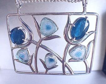 Indicolite pendant, blue tourmaline, tourmaline pendant, statement pendant, tourmaline jewelry, tourmaline slice, raw gemstone jewelry, Zeba