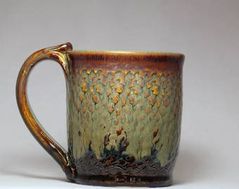 handmade tea cup, 10oz pottery mug, original pottery coffee mug