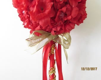 red and gold fariy wand flower girl basket party wand