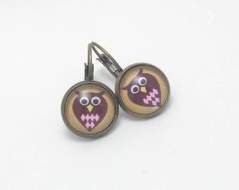 OWL Stud Earrings / flower pattern choice