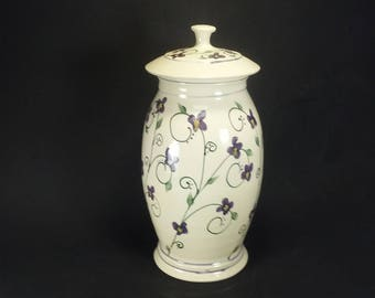 Large white covered jar with hand painted violets ceramic clay storage jar with lid ginger lidded jar ceramics and pottery urn Wendy Summers