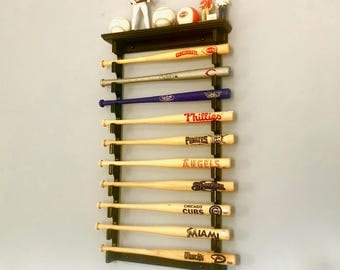 10 Mini Souvenir Bat Horizontal Baseball Bat display Rack with Ball Shelf