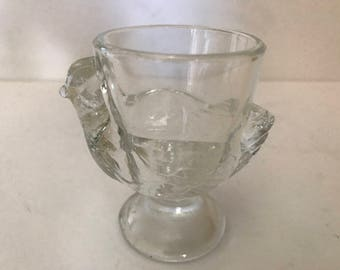 Vintage  Pressed Glass Rooster or Chicken Egg Cup- Marked France