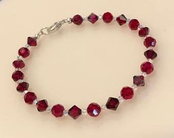 Red Swarovski Crystal Bracelet/Valentine's Day/ Feminine Bracelet/ Girly Bracelet