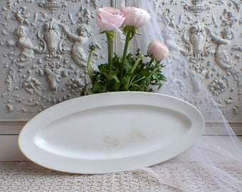 Antique french ironstone fish platter. Small oval fish platter.Tea stained antique white ironstone fish platter. Jeanne d'Arc living Cottage
