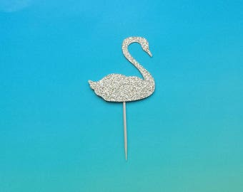 Swan cupcake toppers -set of 12-glitter-birthday-wedding-baby shower-bridal shower-bachelorette-engagement-party-summer