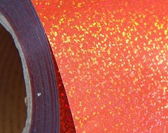 "Holographic Orange 20"" Heat Transfer Vinyl Film By The Yard"