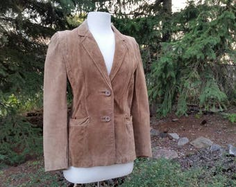 Vintage Late 70s early 80s Tan Suede Blazer Jacket by Ari Fashions Calgary