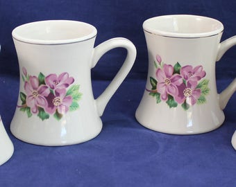 Mug Coffee Pink Flower Cup Vintage Flared bottom