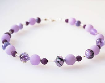 purple necklace ultra violet lila with handmade glass beads lampwork unicate