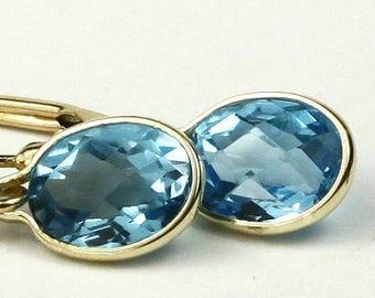 On Sale, 30% Off, Swiss Blue Topaz, 14KY Gold Leverback Earrings, E001