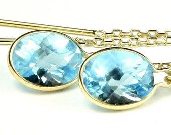 On Sale, 30% Off, Swiss Blue Topaz, 14KY Gold Threader Earrings, E005
