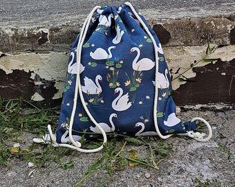 Swans Drawstring Backpack, Waterproof Travel bag Gift for Her Handmade in Poland