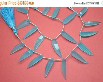 40%OFF 3 StrandsSuperfinest AAAA-Natural Electric Aqua Blue Chalcedony Faceted Okra Shape Briolette Beads-25-30mm-20 Pcs