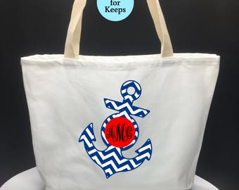 SALE-Monogrammed Anchor Canvas Tote Bag, Nautical Tote Bag, Canvas Tote Bag, Reusable Shoulder Tote and Handbag, Outdoor Tote Bag, Beach Bag