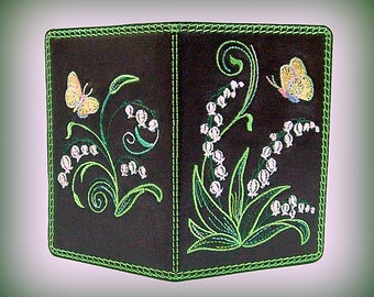 "Leather passport cover/ case/holder   ""Lily of the Valley"""