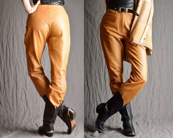 Vintage 90's Real Leather High Waist Trousers