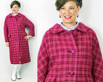 "1960s Coat / 60s Coat / 1960s 60s Wool Coat / Pink Tweed Coat / Winter Coat / XL Coat / Size 12 14 16 / Bust 43"" Waist 45"""