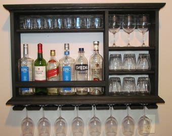 mini bar black stain liquor cabinet wall mounted