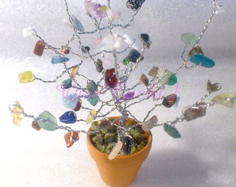 Tree of life with chips of gemstones to choose.