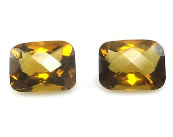 Natural Whiskey Quartz Emerald Cut 12x10mm Matched Pair Checkerboard Top Nice Luster (4088)