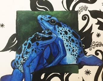 Original Ink Painting of Frogs