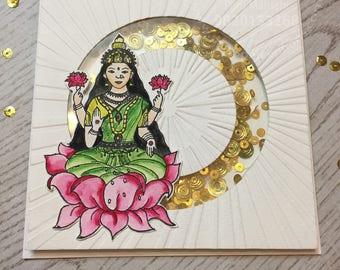 Lakshmi shaker card,indiangoddess,indiandesign,indiancelebration,indianmotif,interactivecard,handmadegreetingcard,diwali,diwalicards