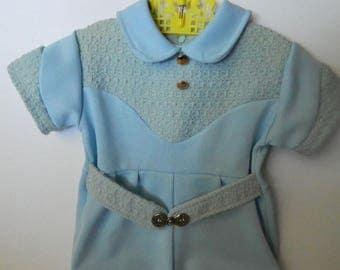 Vintage 1960s Blue Baby Onside 6 - 9 months