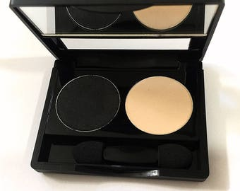 BLACK & CREAM Duo Pressed Mineral Eye Color Palette - Natural Makeup Eye Shadow