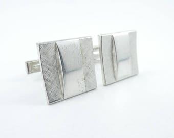 Vintage Square Cuff Links, Silver tone, O14