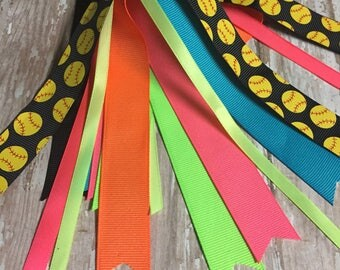 Neon Colors, Softball Ribbons, Sofball Streamers, Black Softball Ribbon , Team Orders
