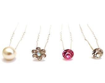 10x Pearl or Crystal Hair Pins Wedding Bridal Hairpins Bride Accessories
