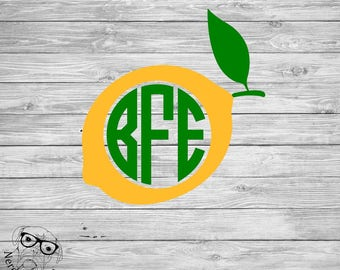 Lemon Monogram Decal, Monogram Lemon Decal, Lemon Laptop Decal, Monogram Decal, Lemon Decal, Lemon Car Decal, Lemon - You choose size