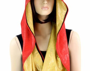 HUGE Extra Long Unisex Red & Gold Sparkly Jewel Holographic Cowl Hoodie Festival Rave Clubwear Hood Reversible Hood - 154703