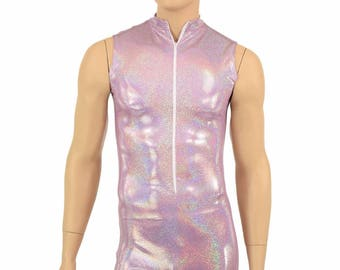 """Mens """"Stanley"""" Lilac Holographic Zipper Front Sleeveless Romper Party Animal Festival Rave Bromper - 155105"""