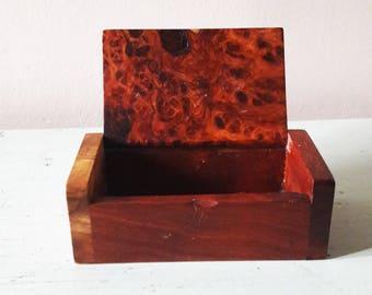 Beautiful Little Vintage Burr Wooden Box