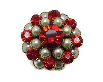 Red Rhinestone Cocktail Ring Vintage Faux Pearl Rhinestone Adjustable Costume Jewelry Ring