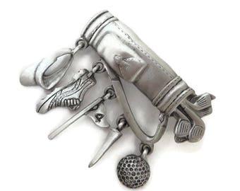 JJ Golf Bag Brooch, Vintage Pewter Pin, Signed J Jonette Pin, Dangling Golf Accessories, Golfer Gift