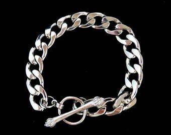 Chunky Chain Link Bracelet, Vintage Shiny Silver Tone Link Bracelet, Gift Idea