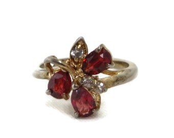 Faux Garnet Cocktail Ring, Vintage Gold Plated Sterling Silver Multi Stone Ring, Size 6.5