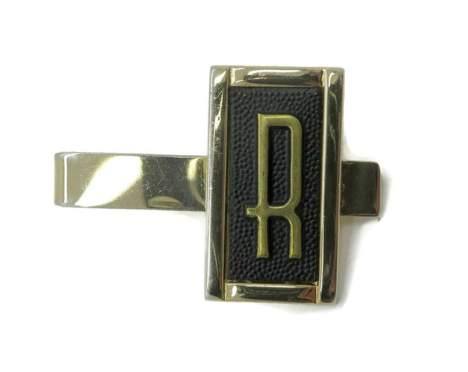 "Swank Tie Bar, Initial ""R"" Tie Clasp, Monogrammed Tie Clip, Men's Suit Accessory Gift Idea"