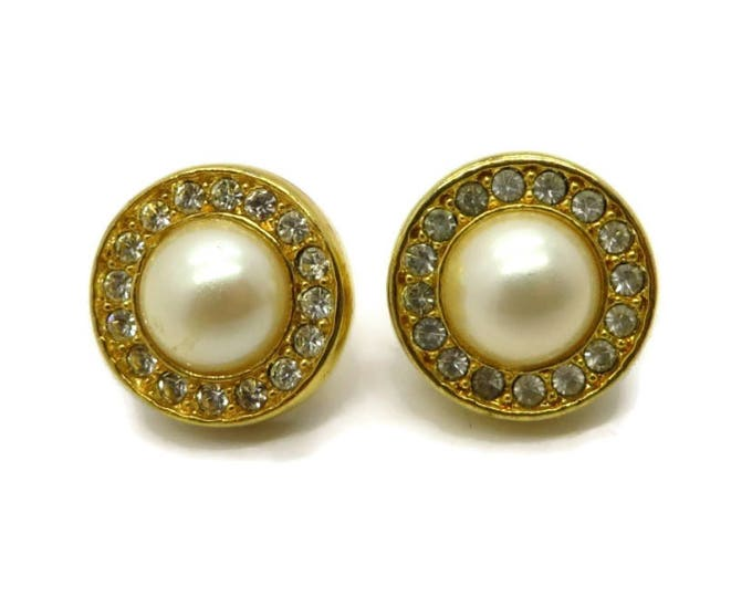 Pearl Rhinestone Studs, Vintage Gold Tone Round Pierced Earrings Bridal Jewelry