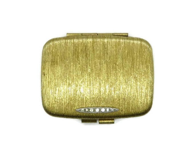 Vintage Compact - Gold Tone Rhinestone Compact, Rectangular Makeup Mirrored Powder Compact